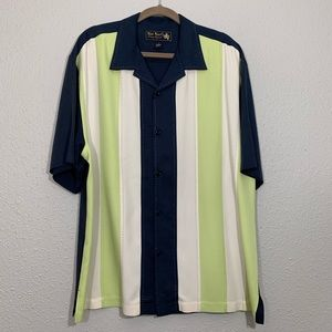 May Nast Silk Vertical Stripe Short-sleeve Shirt